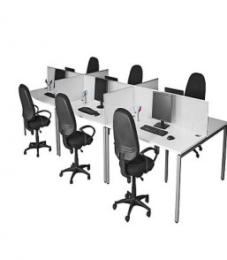 Evolution 6 Way Workstation (Aluminium Frame Screens)